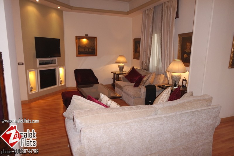 Furnished High Ceiling Apartment For Rent In Zamalek Close to GAZIRA Sporting Club