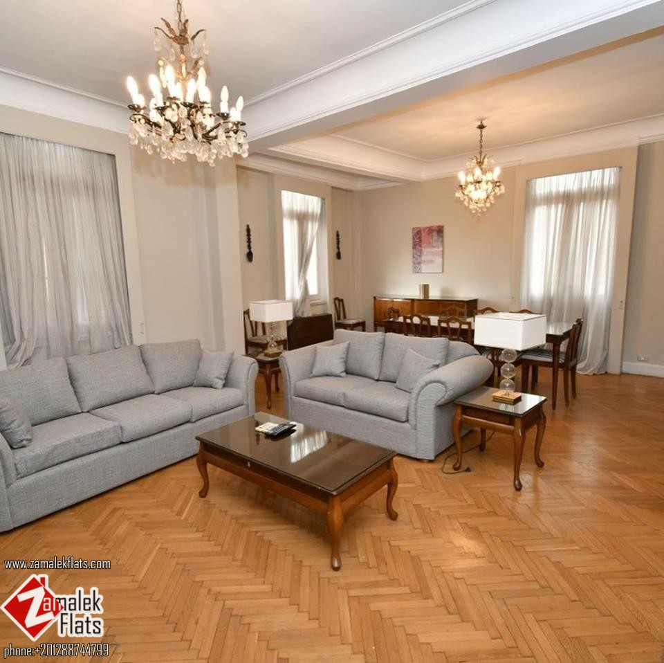 Nile View Apartment with High Ceilings for Rent in South Zamalek