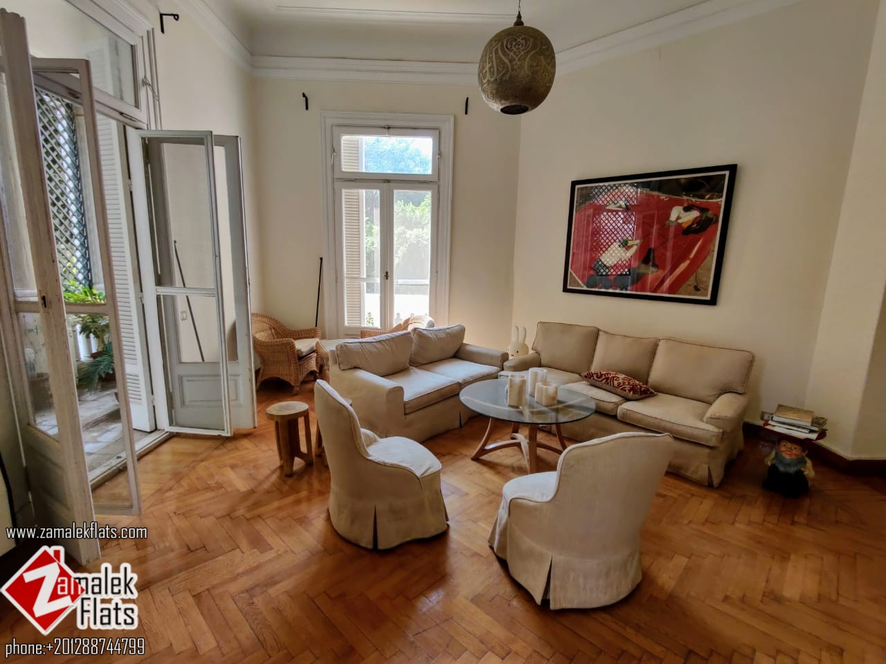 Nile View Apartment For Rent In Historical Building In Zamalek