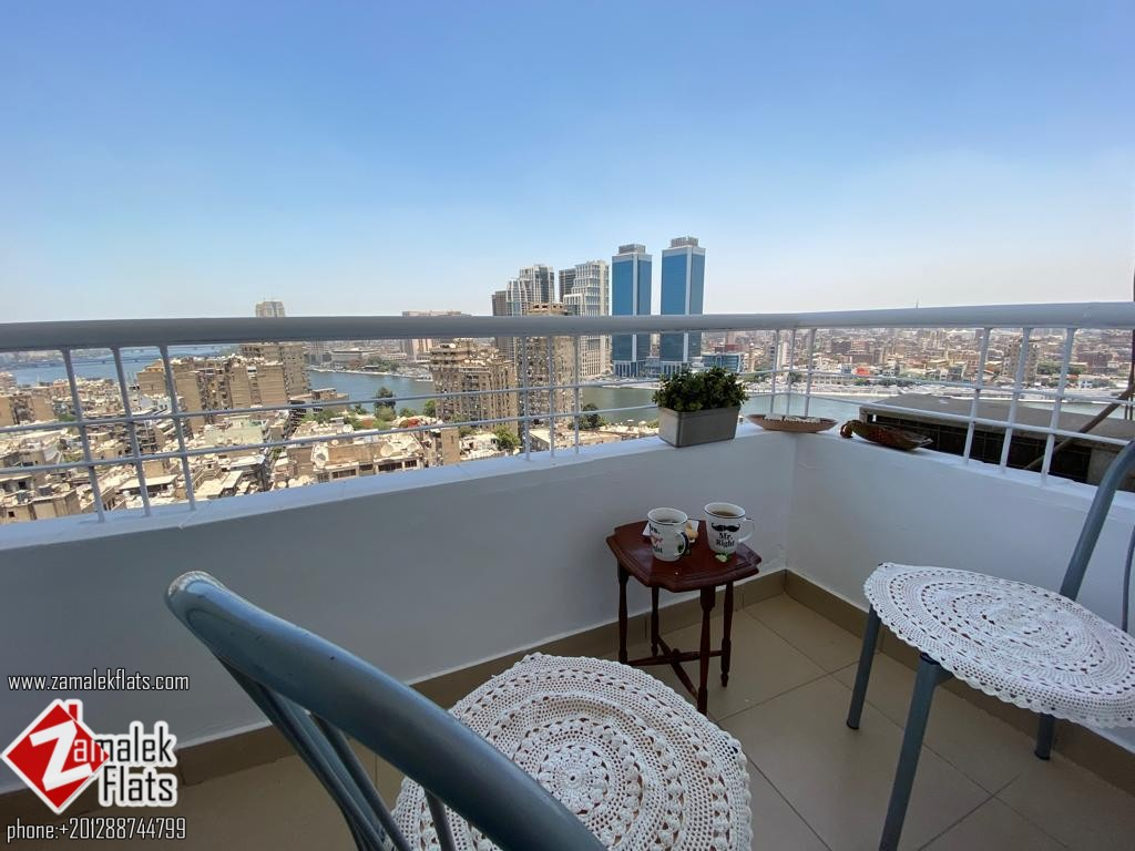 Bright Apartment With Nile View For Rent In Zamalek